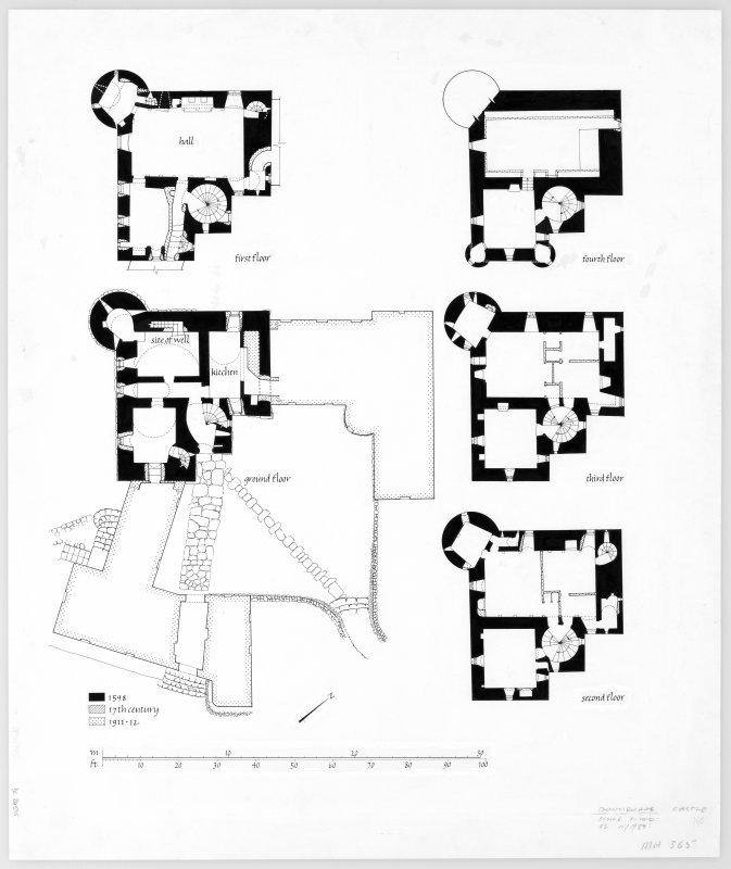 Publication drawing. Dunderave Castle; plans.