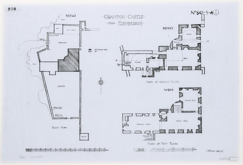 Block, ground and first floor plans.