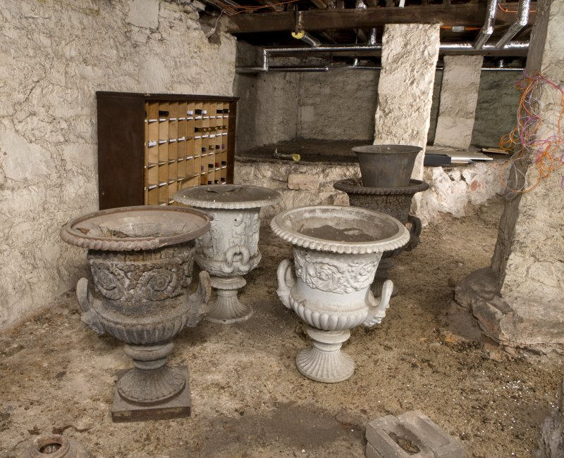 Interior. View of basement showing urns