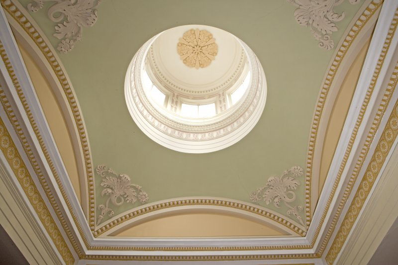 Interior. View of main hall ceiling and cupola