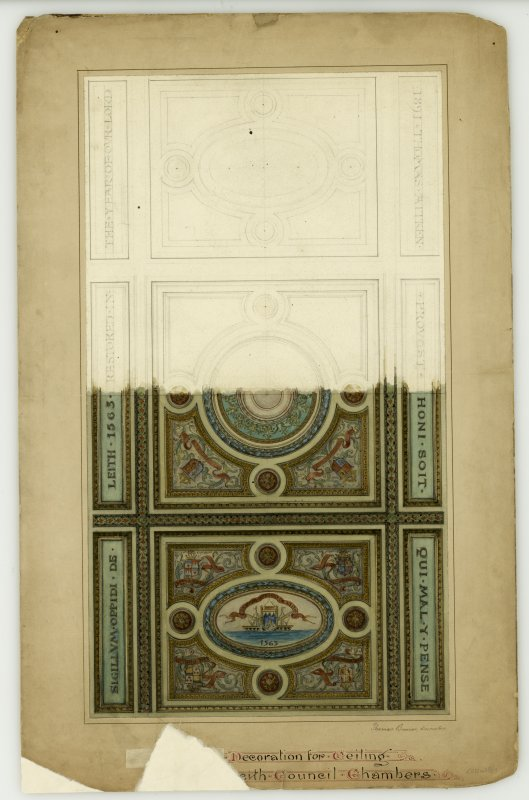 Partial design for ceiling of council chamber Signed: ''Thomas Bonnar Decorator''