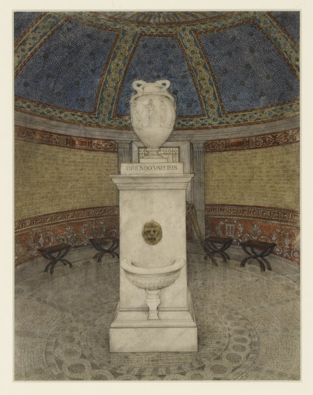 Design for interior decoration of pump-room, insc: 'Design for Decoration of Interior of St. Bernard's Well, Edinburgh. To be executed as mosaic'.  Signed 'Thomas Bonnar, Decorator, Edinr'.