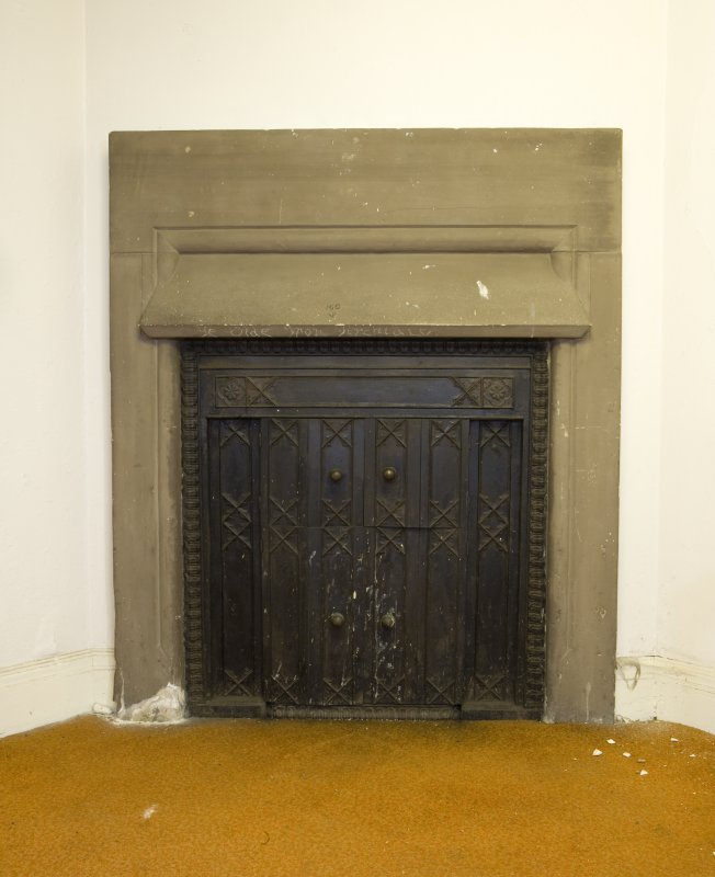Interior.Ground floor.  Detail of fireplace