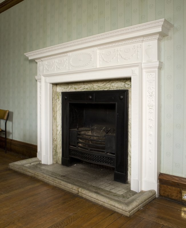 Interior. First floor detail of fireplace