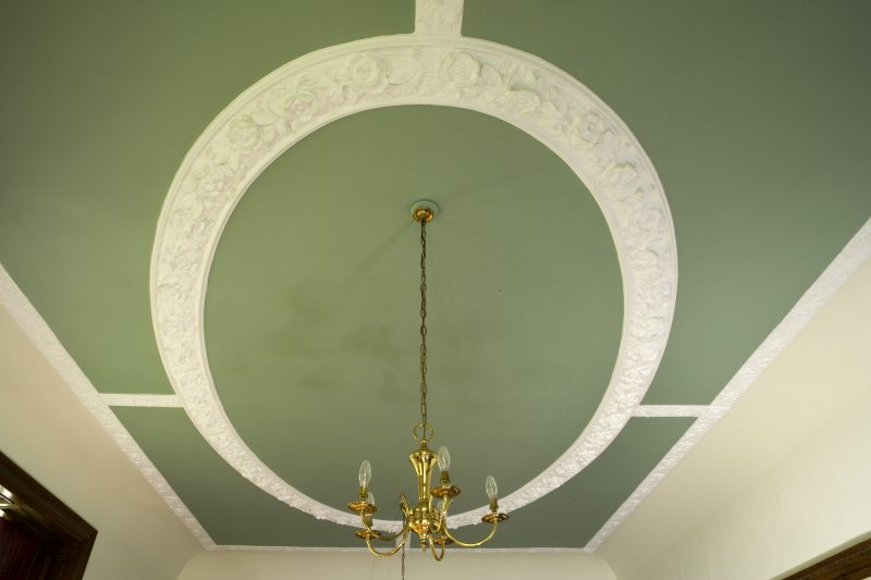 Interior. First floor detail of dining room ceiling