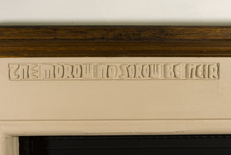 Interior. First floor detail of fireplace mantle inscription