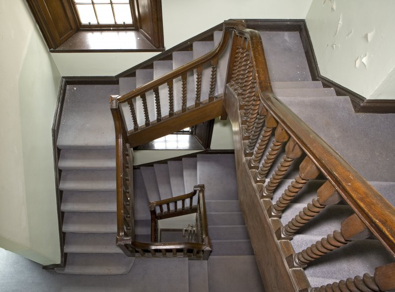 Interior view of main staircase from top floor landing at Dargavel House, Bishopton.