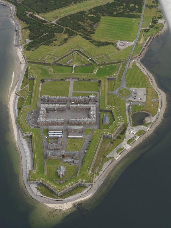 Oblique aerial view of Fort George centred on the fortifications, taken from the W.