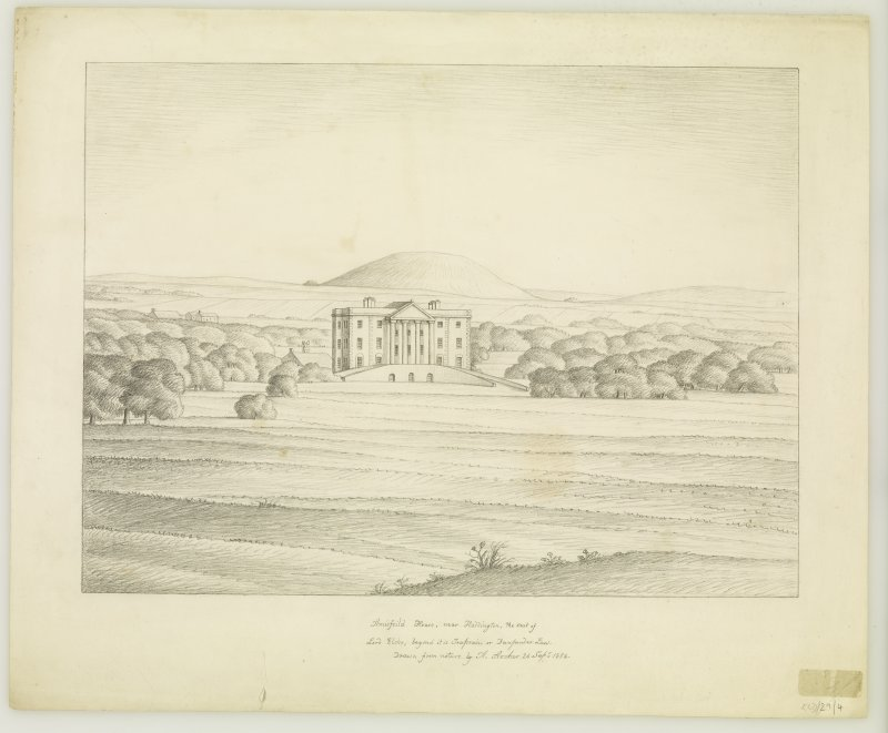 Copy of original pencil drawing inscribed ' Amisfield House, near Haddington, the seat of Lord Elcho, beyond it is Traprain or Dumpender Law. Drawn from nature by A Archer 24 Sept 1836'. View of house from N.