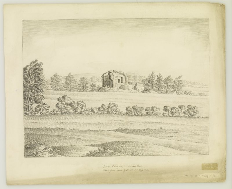 Currie, Lennox Tower View from East. Tilted: 'Lennox Castle from the East, near Currie. Drawn from Nature by A. Archer,July 1836'