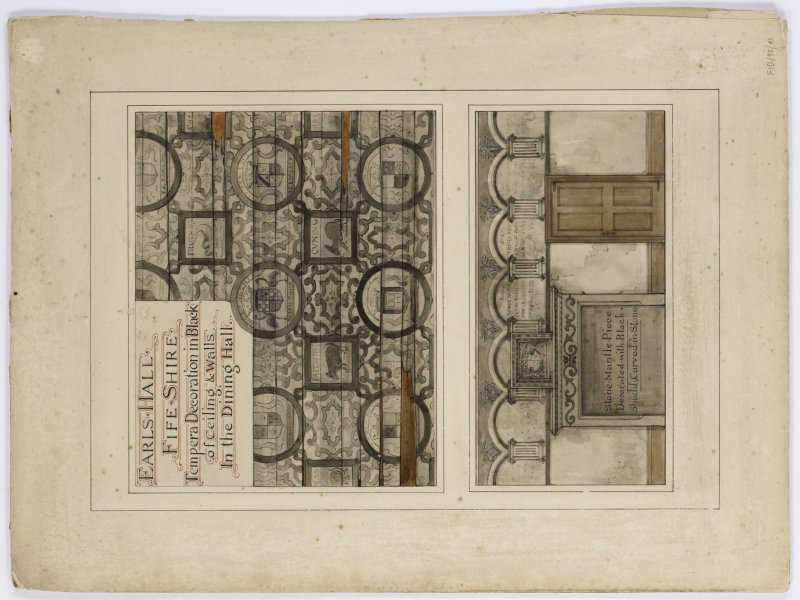 Survey of wall & ceiling decoration in the Dining Hall at Earls Hall Fife. Thomas Bonnar