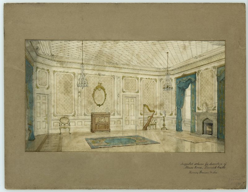 Interior. Sketch view of decorative scheme for music room at Lanrick Castle