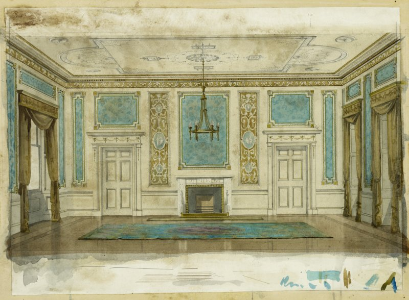 Interior. Sketch view of decorative scheme in drawing room, Lanrick Castle