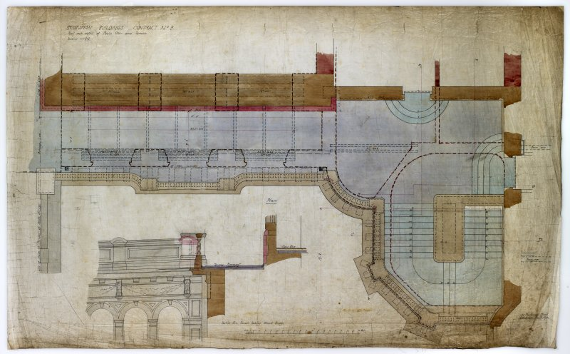 Edinburgh, 20-36 North Bridge, The Scotsman Buildings.   Plan, section through terrace looking towards Bridge. Titled:  'Scotsman Buildings  Contract No 3 Half Inch Detail Of Public Stair And Terrace. ...