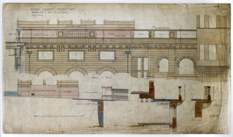 Edinburgh, 20-36 North Bridge, The Scotsman Buildings.   Elevation of terrace, elevation to North Bridge, sections at OO and XX. Titled:  'Scotsman Buildings  Contract No 3 Half - Inch Detail Of Public Stair And Terrace.  Drawing No 100.' Insc:  '35 Frederick Street. Edinburgh  Jany 1901.'