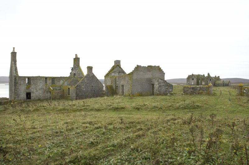 Rear view of Chamberlain's House and Old Vallay House, with Vallay House in the distance, taken from NE
