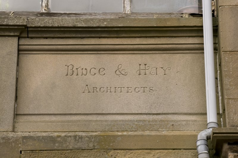 Detail of plaque to Bruce and Hay Architects