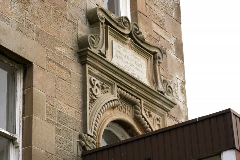 Detail of plaque above W entrance. Scottish Co-operative Convalescent Seaside Homes Association Ltd. Instituted May 1803
