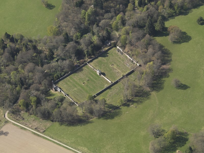 Oblique aerial view centred on the walled garden, taken from the SE.