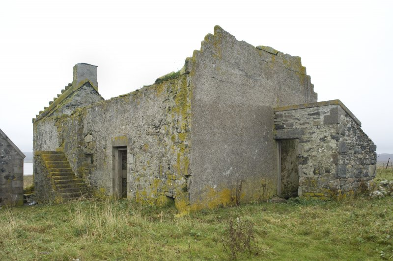 View of N (gabled) and E elevations of Old Vallay House, Vallay, taken from NE