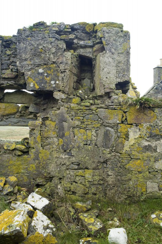 Interior detail. Central section of the E wall of Old Vallay House, Vallay