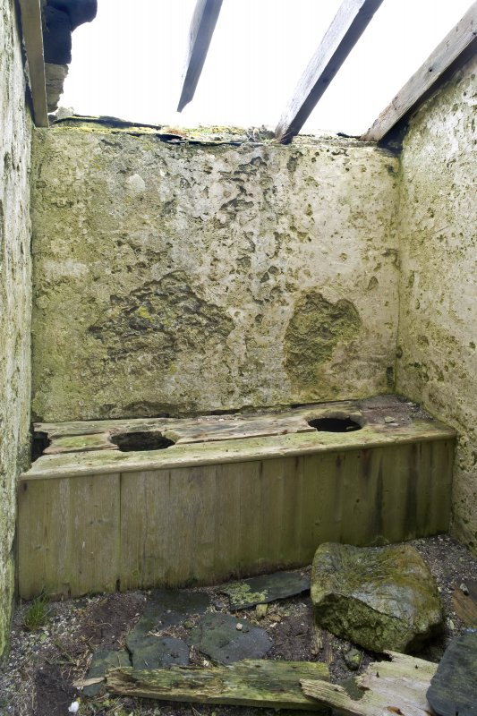 Interior detail. Earth closet in N elevation lean-to of Old Vallay House, Vallay