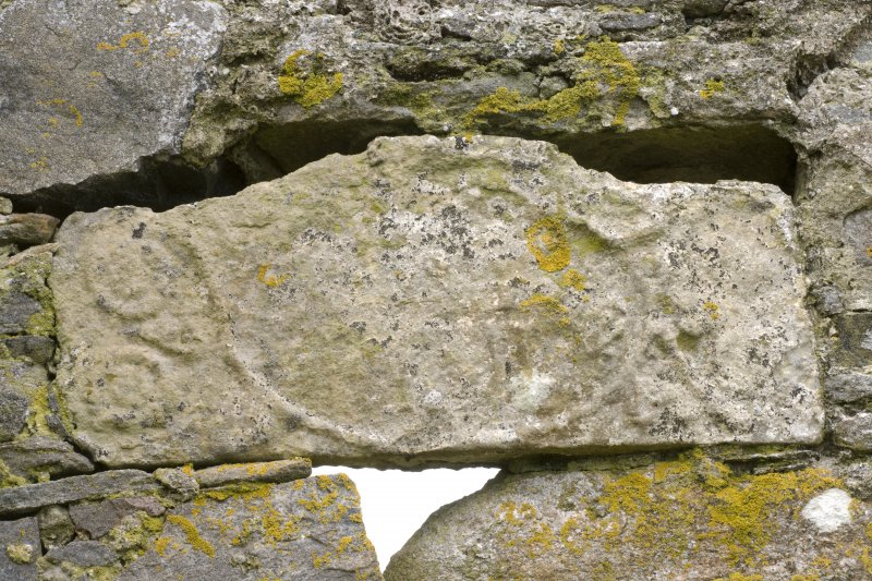 Detail of Marriage lintel stone set into the E elevation of Old Vallay House, Vallay