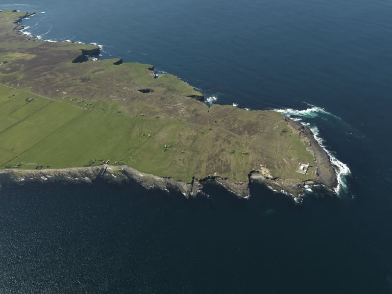 General oblique aerial view of the lighthouse on Stroma, taken from the ENE.