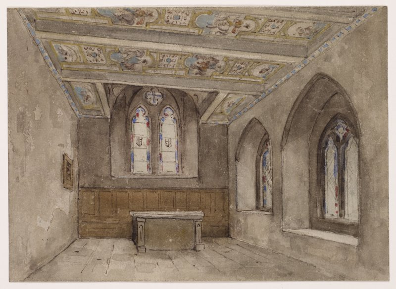 Perspective of interior of Chapel to East, Dowery house, Stobhall Castle.