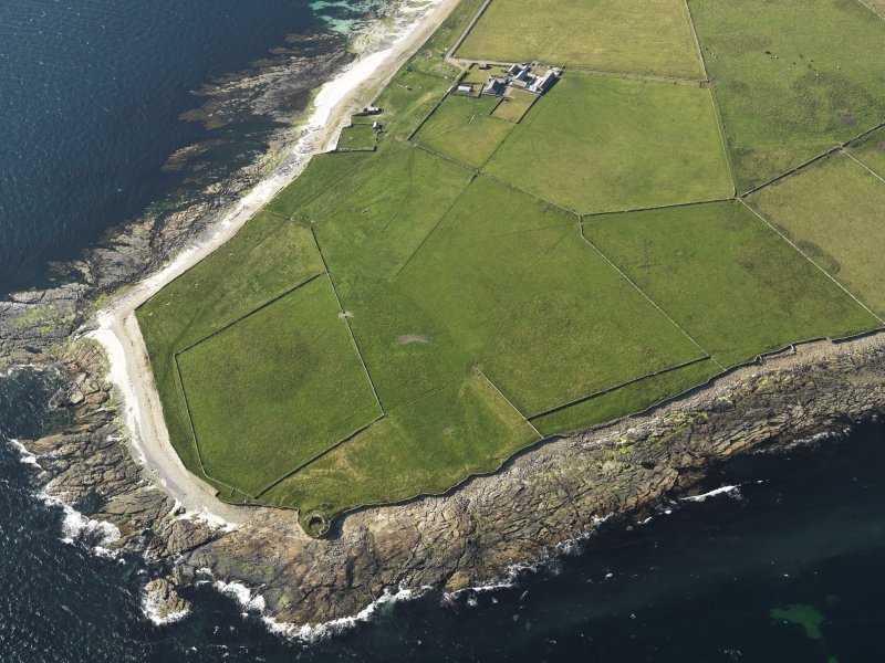 Oblique aerial view centred on the Broch of Burrian, taken from the SSE.
