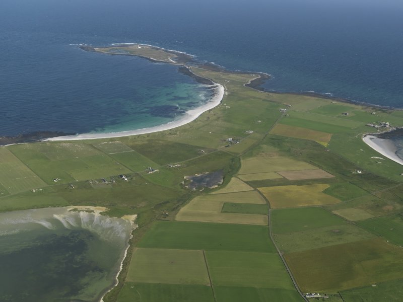 General oblique aerial view of Sanday looking towards Start Point, taken from the W.