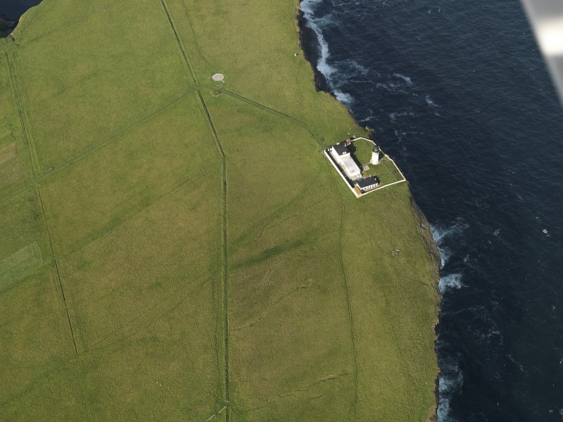 Oblique aerial view centred on Copinsay lighthouse, taken from the SW.