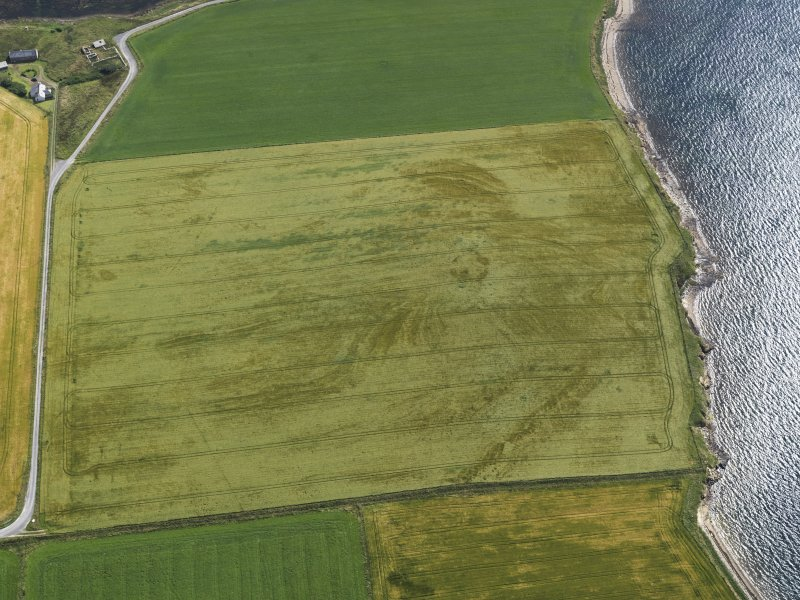 Oblique aerial view centred on the cropmarks of the broch at Bu, taken from the W.
