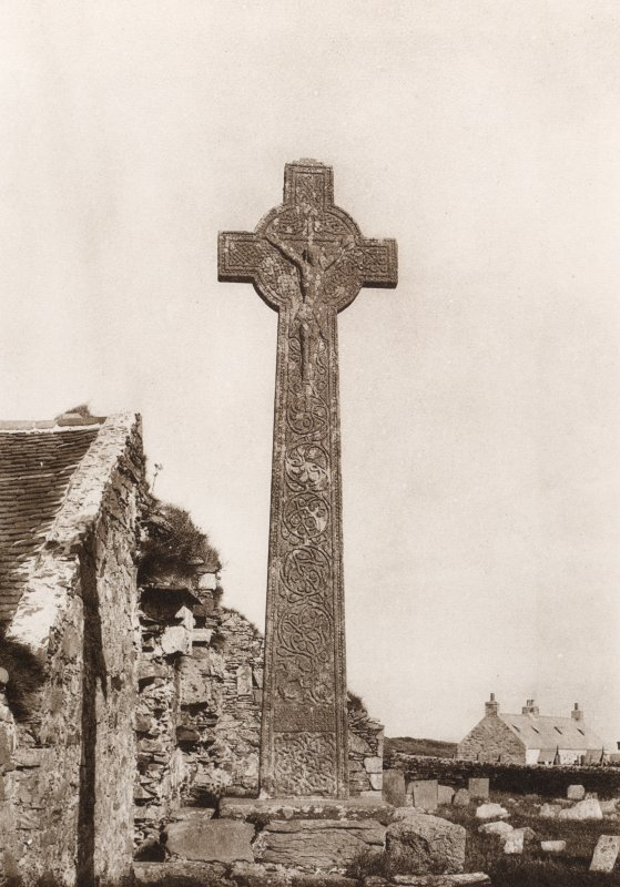 Copy of photograph titled 'Oronsay Cross, west side'