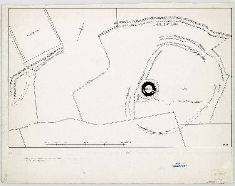 Publication drawing. Site plan of Torwoodlee fort and broch.