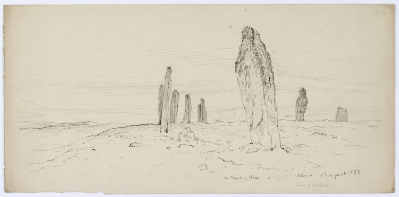 Sketch of the Ring of Brodgar, from Sketches of Scottish Antiquities by Waller Hugh Paton (1828-1895)