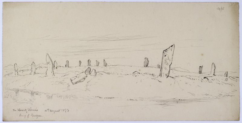 Sketch of the Stones of Stenness, from Sketches of Scottish Antiquities by Waller Hugh Paton (1828-1895).