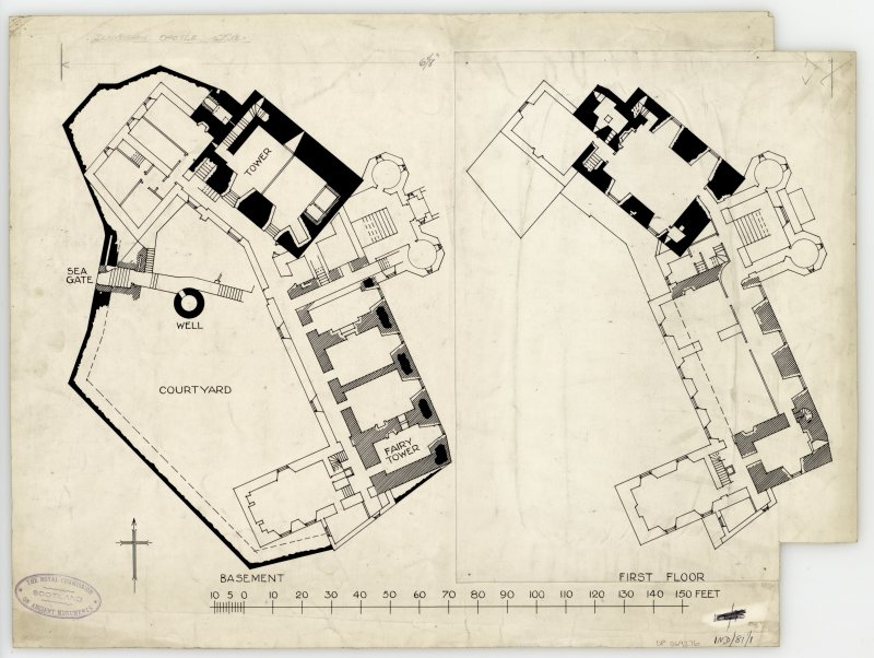 Publication drawing; Dunvegan Castle, plans of basement and first floor.