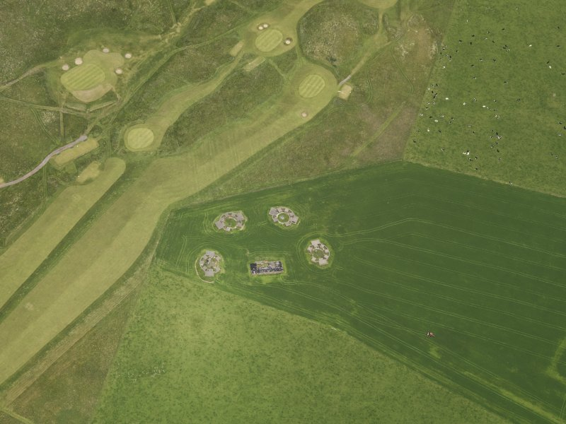 Oblique aerial view centred on the anti aircraft battery, taken from the SE.