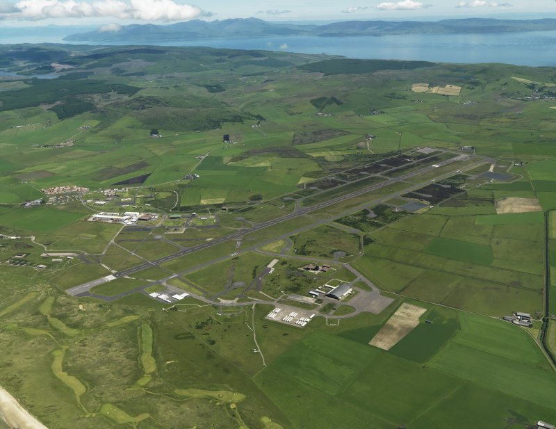 General oblique aerial view centred on the airfield, taken from the SW.