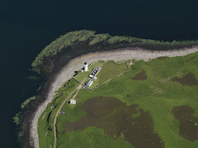 Oblique aerial view centred on the lighthouse with the observation tower adjjacent, taken from the WSW.