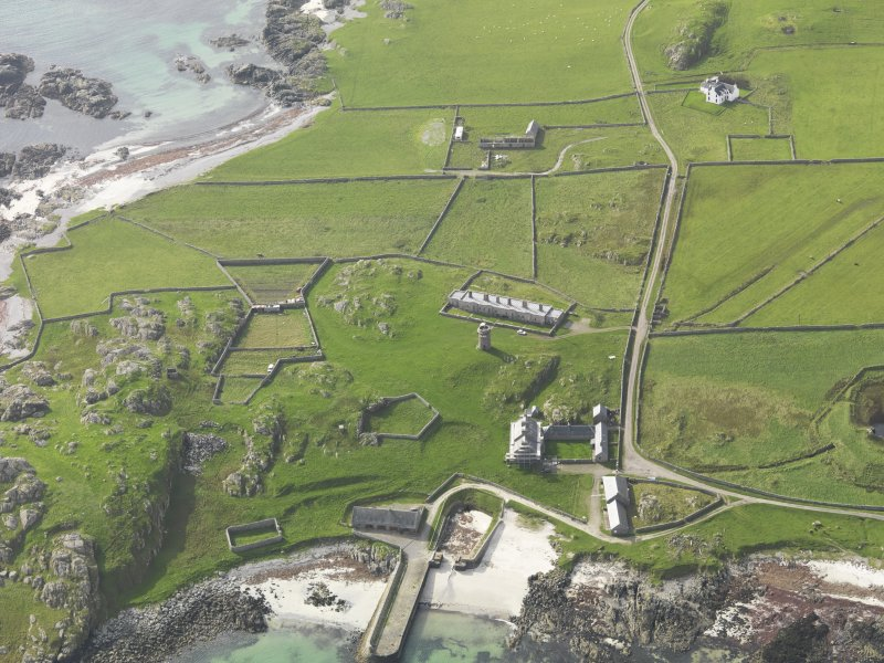 General oblique view centred on Hynish, taken from the NE.
