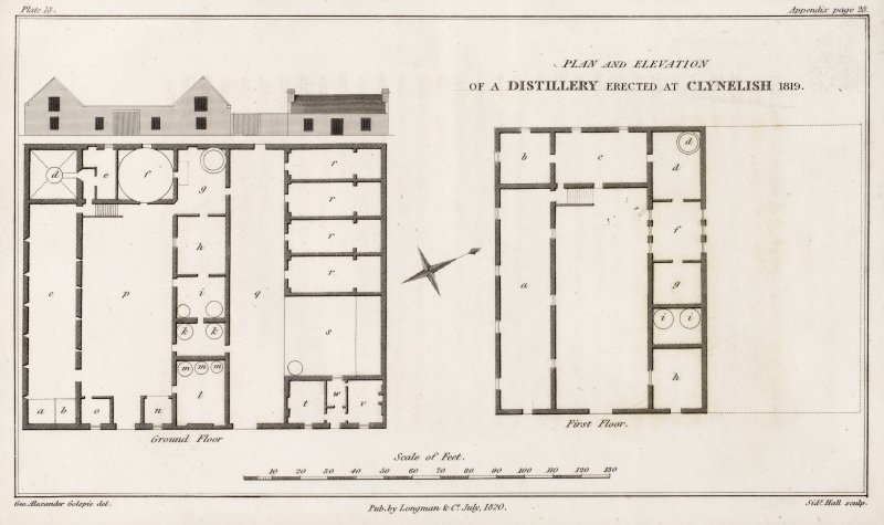 Drawing of Clynelish Distillery, Brora.  Titled: 'Plan and elevation of a distillery erected at Clynelish 1819'. 'Published by Longman & Co, July 1820'. From appendix (p 107): 'References ground floor: a. couch, b. steep, c. malt-barn, d. still-pit, e. bothy, f. horse-course, g. brew-house, h. tun-room, i. still-house, k. condensers, l. spirit-cellars, m. spirit-casks, n. shed for casks, o. office, p. court, q. pig-area, r. pig-styes, s. breeding pig-styes, t, v, w. foreman's house; First floor: a. granary, b. kiln, c. dried-corn loft, d. boiler, f. cooler, g. still-house, h. cooper's shop, i. condensers'.