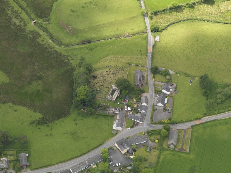 Oblique aerial view of Dalton Old Parish Church, taken from the NE.