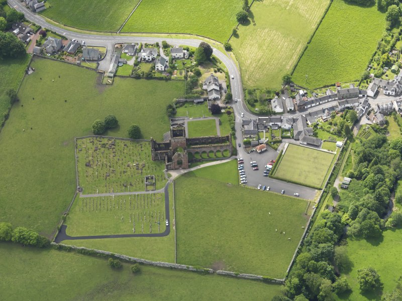 Oblique aerial view of Sweetheart Abbey, taken from the N.