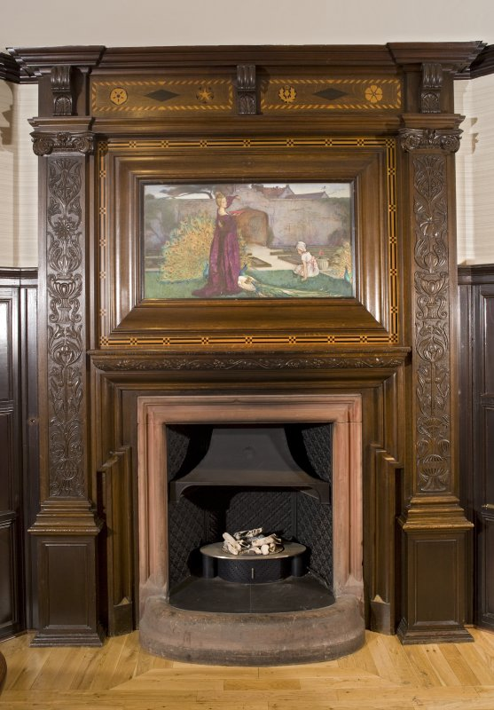 Interior. Ground floor. Bar.  Detail of fireplace and overmantle.