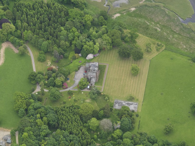 Oblique aerial view of Cumstoun House, taken from the WSW.