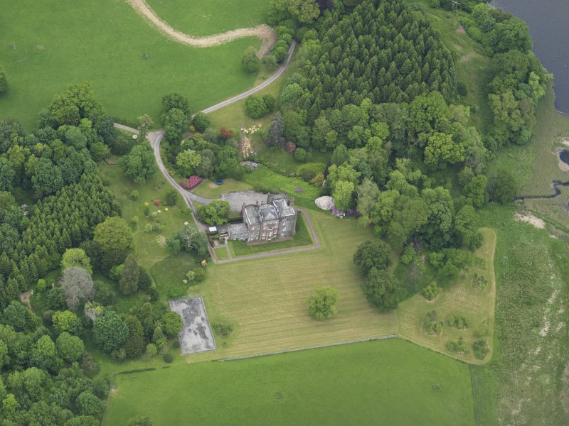 Oblique aerial view of Cumstoun House, taken from the S.