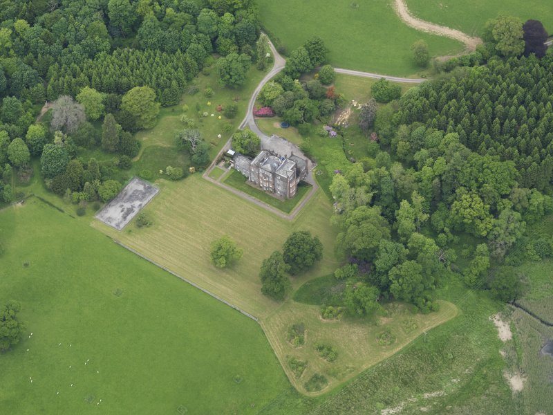 Oblique aerial view of Cumstoun House, taken from the SE.