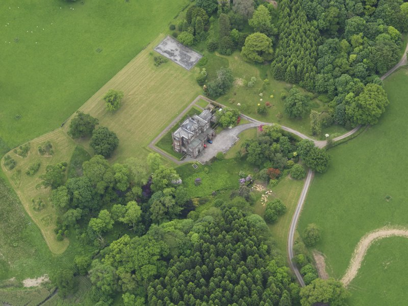 Oblique aerial view of Cumstoun House, taken from the NE.
